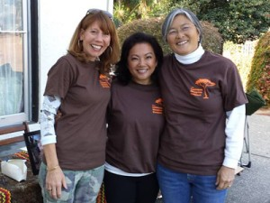Huldah Cannon LCSW, East Bay Hospice social worker, Hygeia Mejia, RN, East Bay Hospice nurse, and Janice Azebu D.O, East Bay Hospice medical director, at last fall's Laikipia Hospice Project walkathon