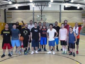 Members of the East Bay basketball league
